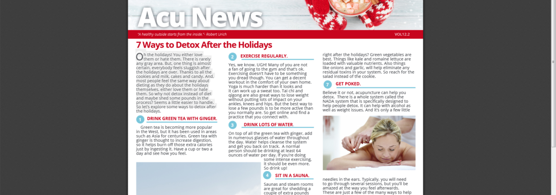 7 Ways to Detox After the Holidays – AcuNews 12.2